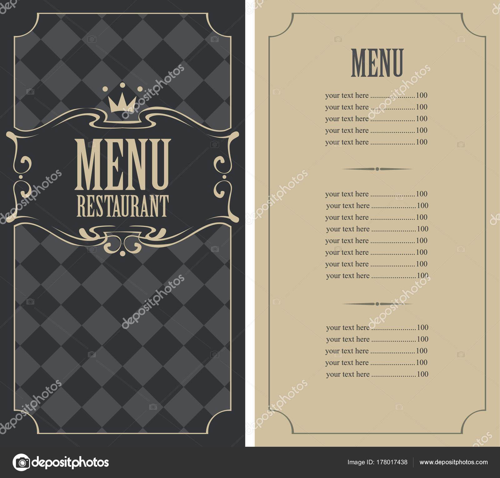 cuadros menú para el restaurante con el precio y la corona — Archivo ...