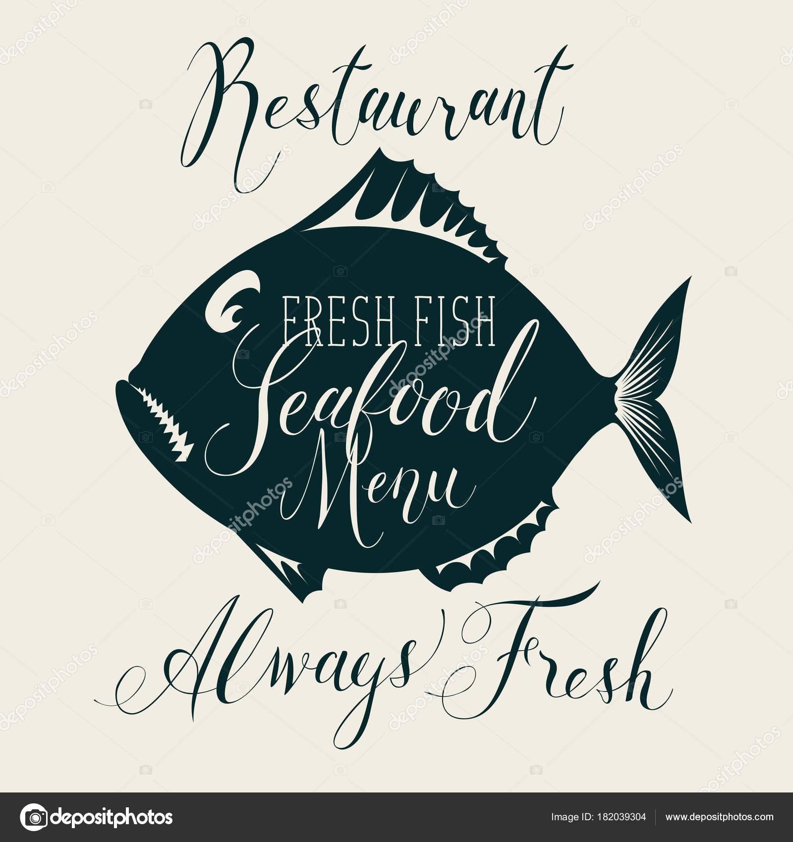 Menu Di Pesce Con Pesci Decorativi E Iscrizioni Vettoriali Stock