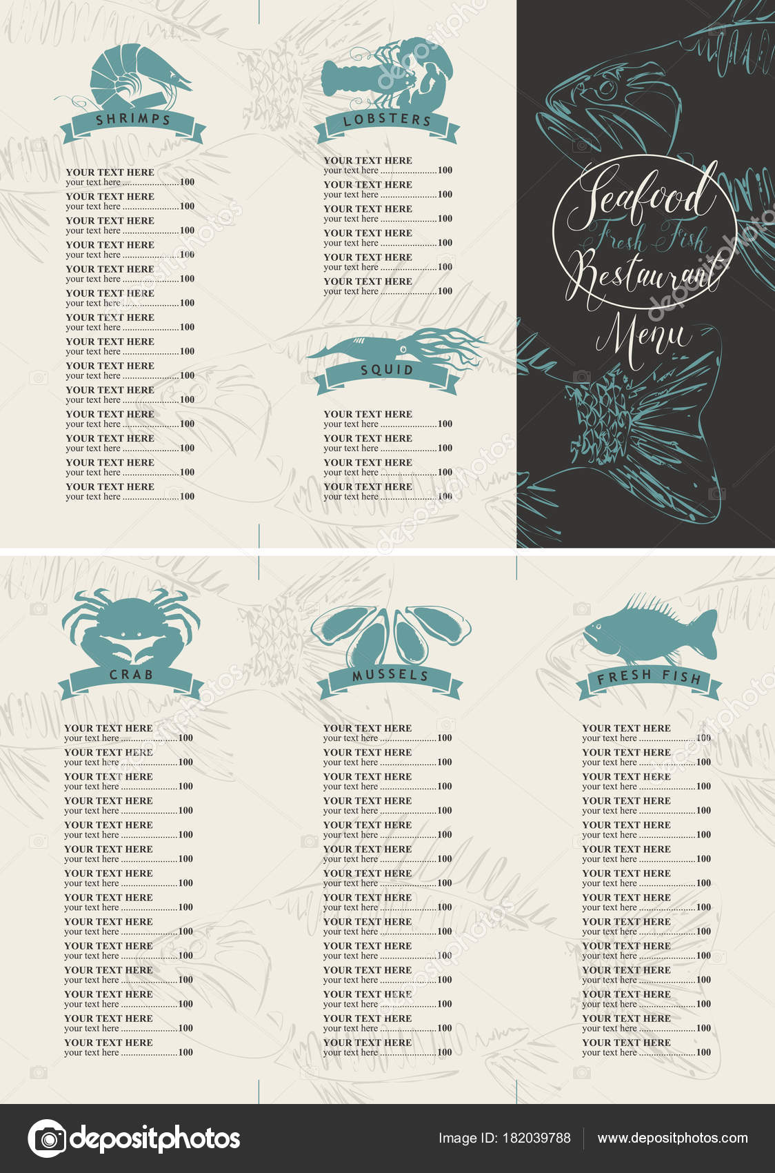 booklet menu with price for a seafood restaurant stock vector