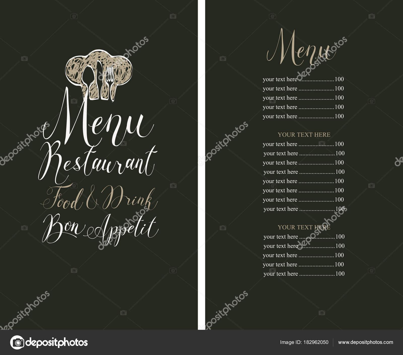 Menú de restaurante con lista de precios, toque y cubiertos ...