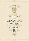 plakát klasszikus zenei koncertre angyalokkal