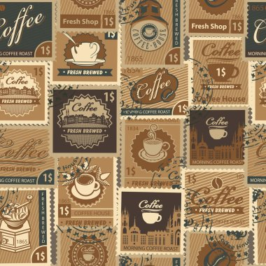 Seamless pattern with postage stamps on coffee theme