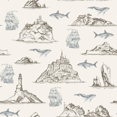 vector seamless pattern with hand-drawn islands