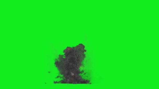 Große Explosion Multi Bombe hoch Rauch grünen Bildschirm 3d Rendering Animation Vfx