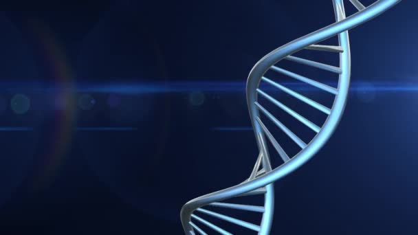 Futuristic Rotating White DNA Strand with Genetic Codes and abstract geometry - 3D Animation loop