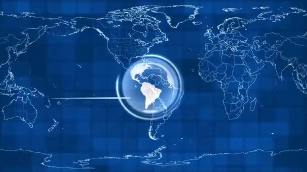 Modrá pozemské technologie, podnikání a komunikace na pozadí smyčky. Animaci zeměkoule otáčející se mapa světa v pozadí. Místo pro váš text a logo. Tento klip je bezešvé smyčka