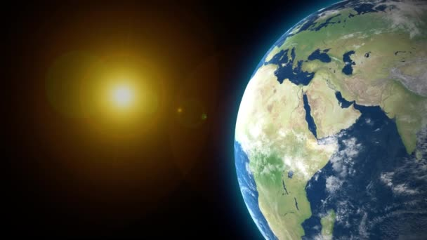 Beautiful Earth rotation 360 degrees with the Sun. Looped animation. HD 1080.