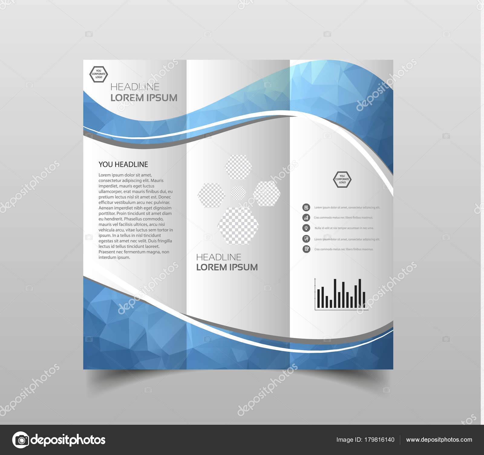 vector tri fold brochure design templates modern polygonal background white stock vector