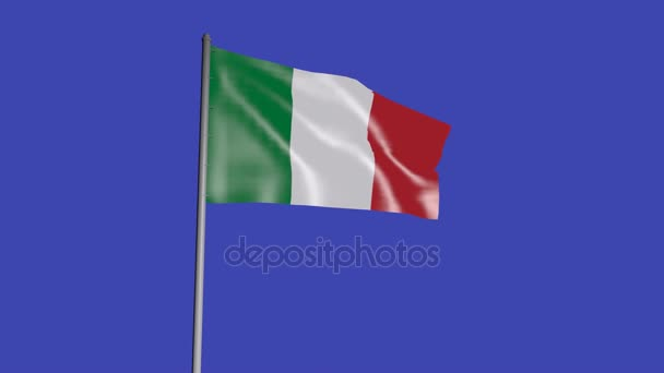 Seamless loop of Italy flag waving in the wind. Realistic loop with highly detailed fabric.