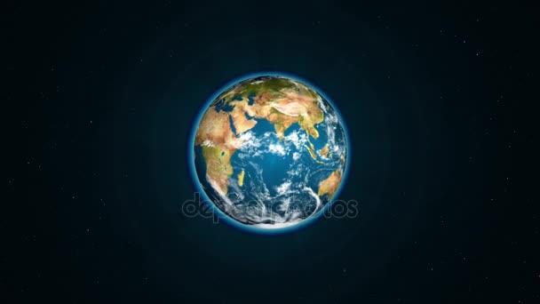 Se země otáčí kolem své osy v černém prostoru - realistické zeměkoule otáčí pomalu