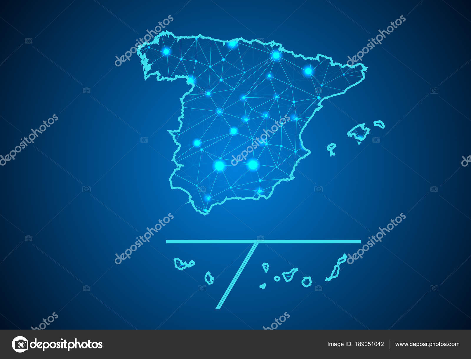 Abstract Mash Line Point Scales Dark Background Map Spain Provinces