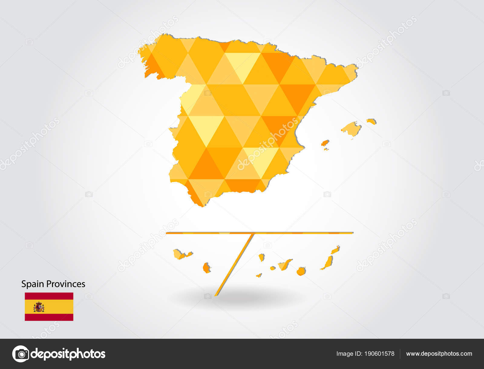 Geometric Polygonal Style Vector Map Spain Provinces Low Poly Map