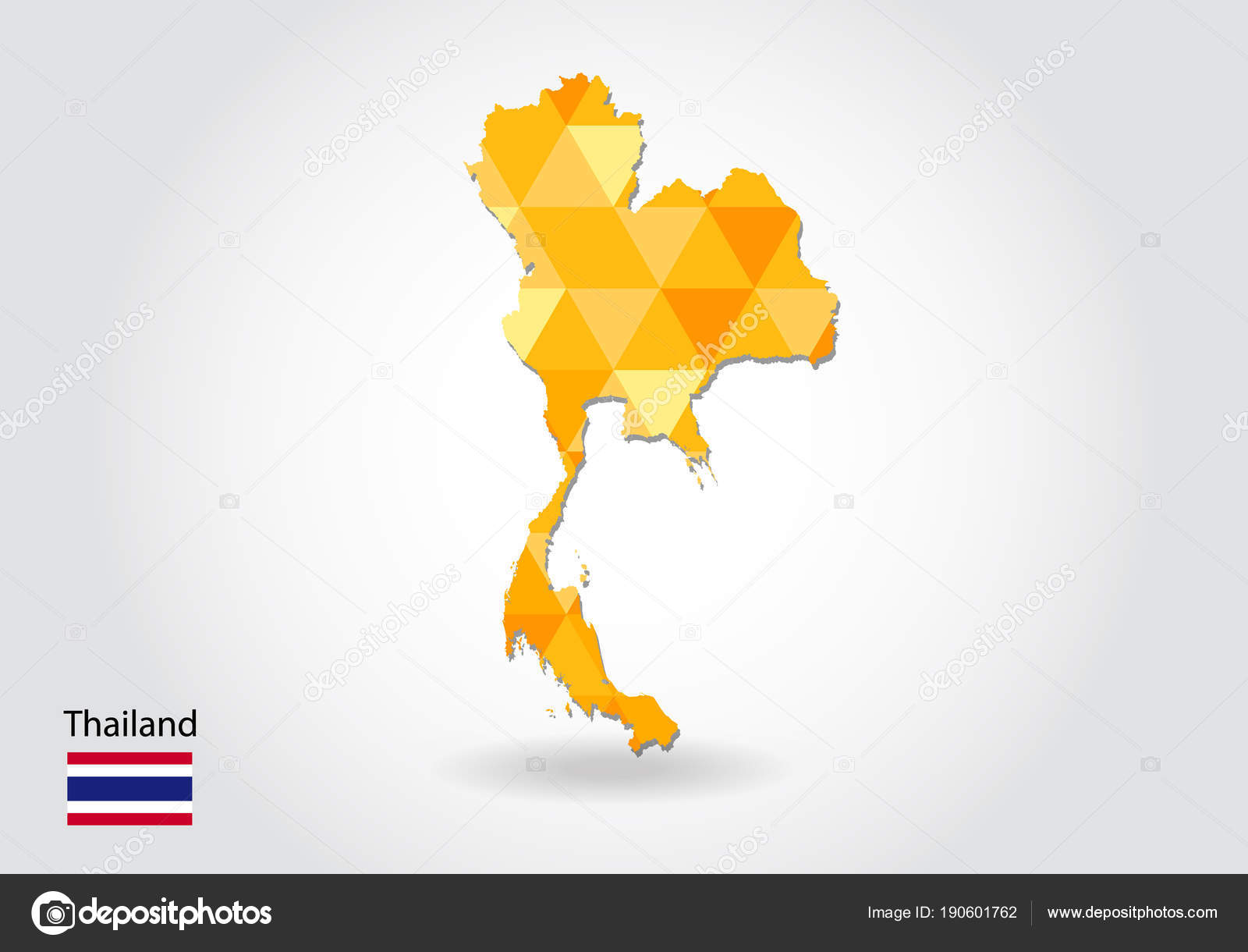 Geometric Polygonal Style Vector Map Thailand Low Poly Map ...