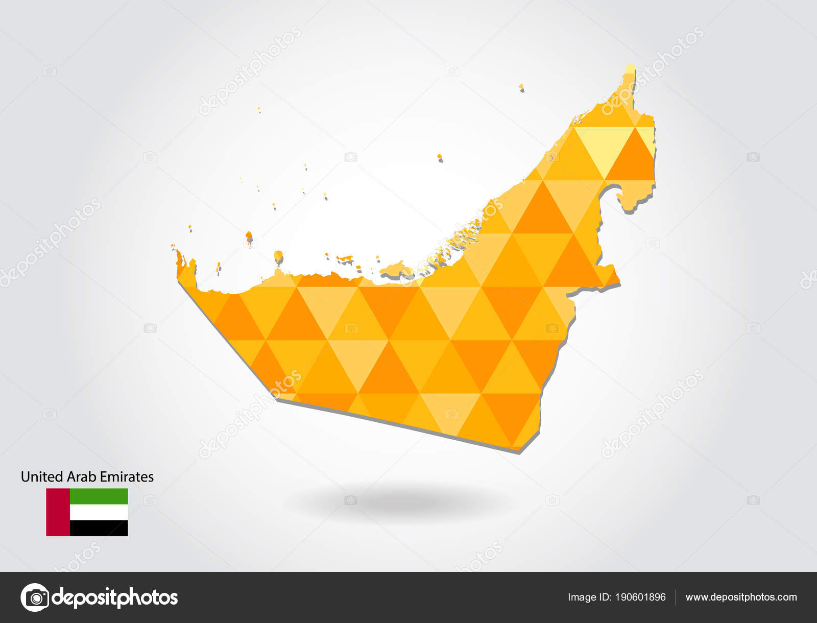 Geometric Polygonal Style Vector Map United Arab Emirates ...
