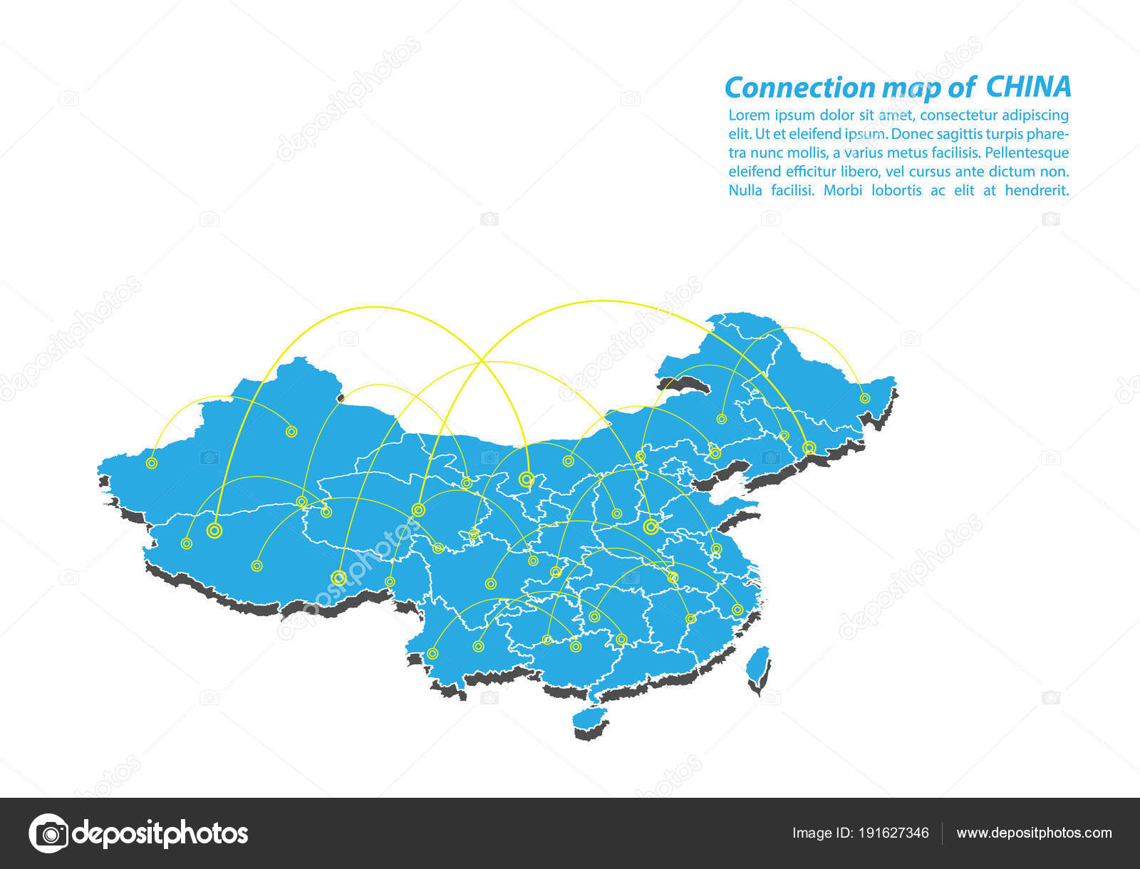 Modern China Map Connections Network Design Best Internet Concept