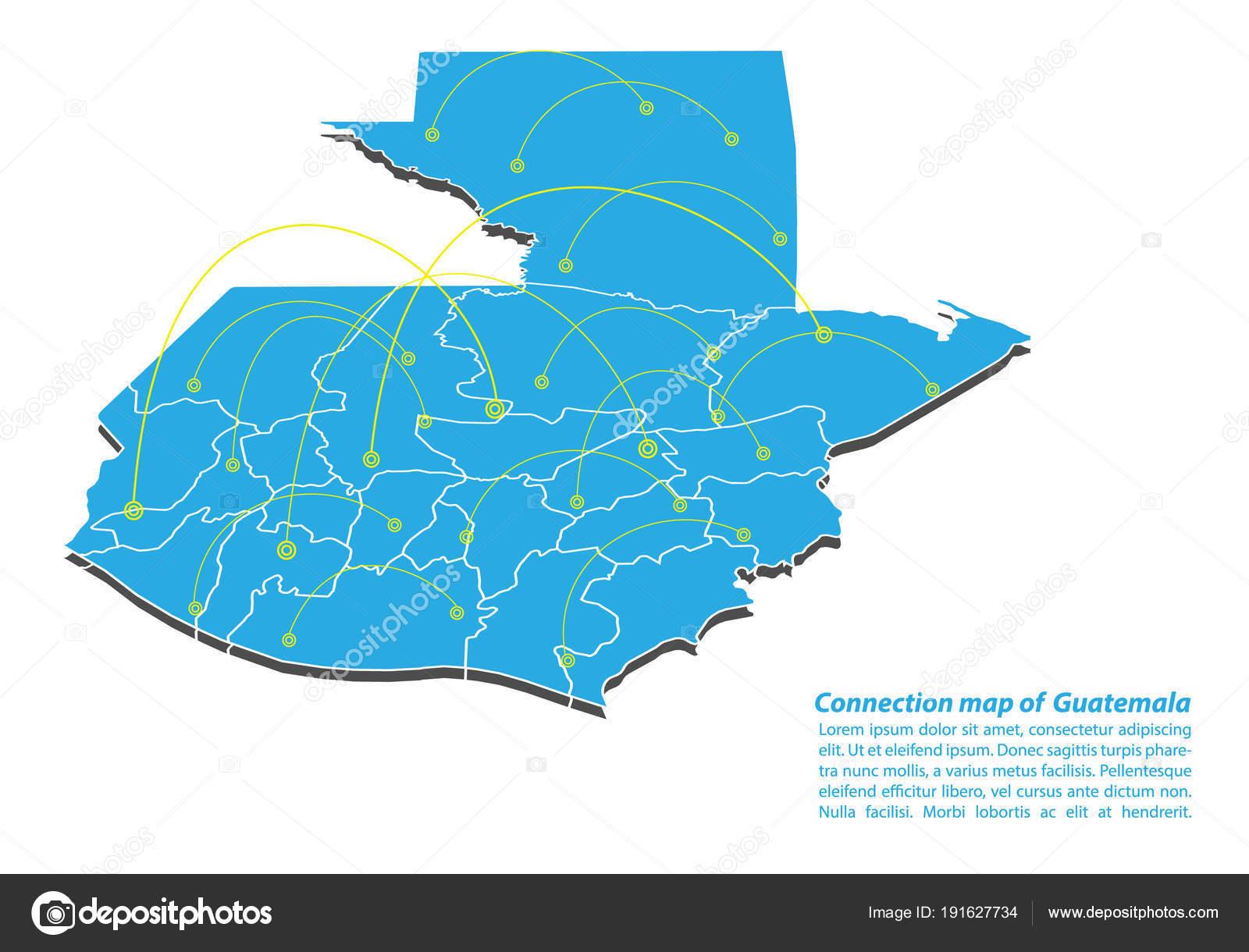 Guatemala Karte.Moderne Von Guatemala Karte Verbindungen Von Netzwerk Design Beste