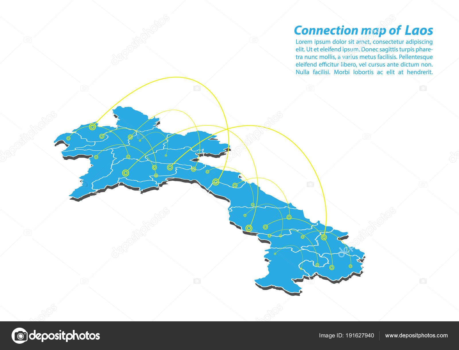 Laos Karte.Moderne Von Laos Karte Verbindungen Von Netzwerk Design Beste