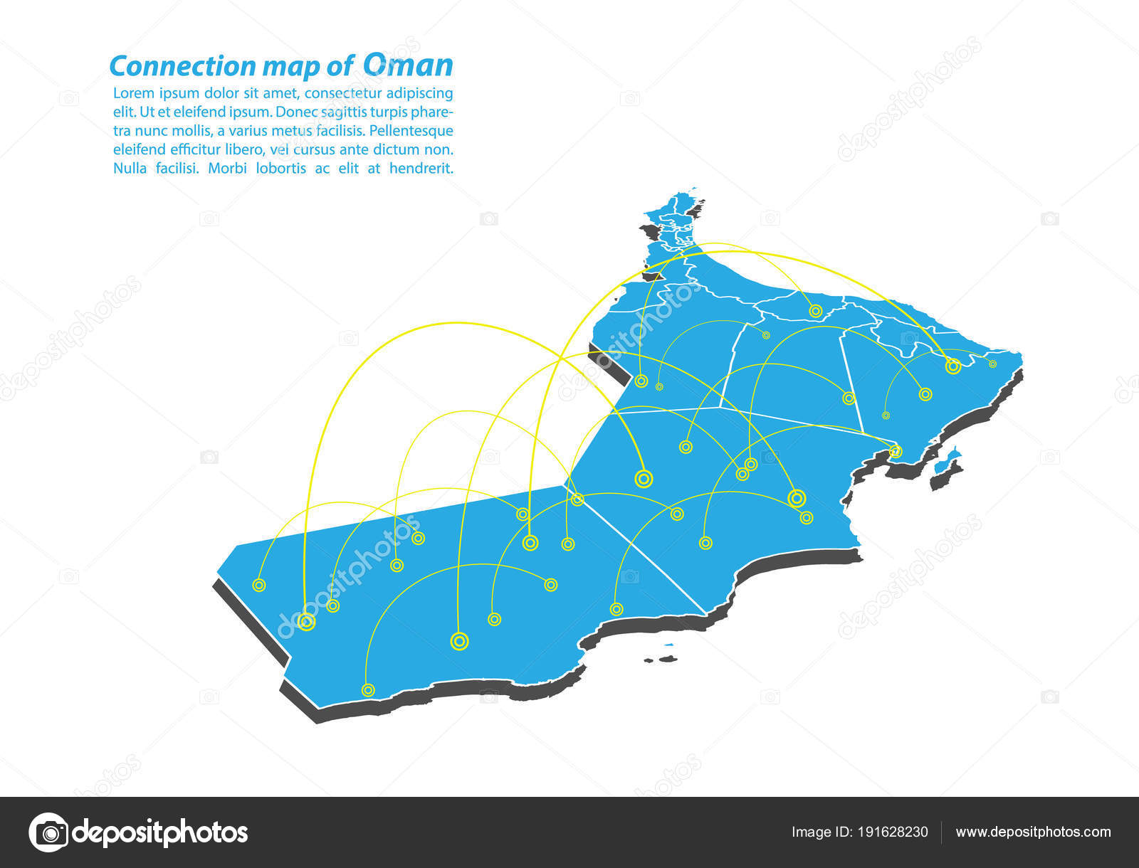 Modern Oman Map Connections Network Design Best Internet Concept