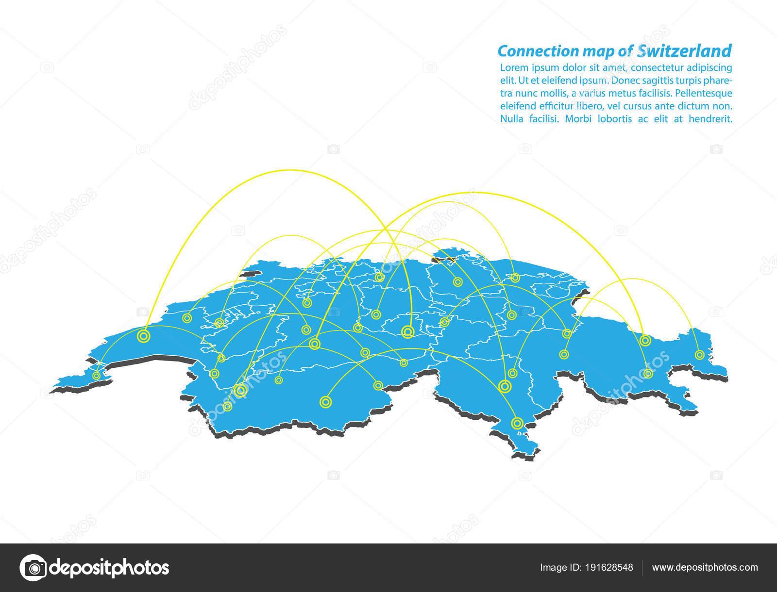 Moderne Schweizer Karte Verbindungen Von Netzwerk Design