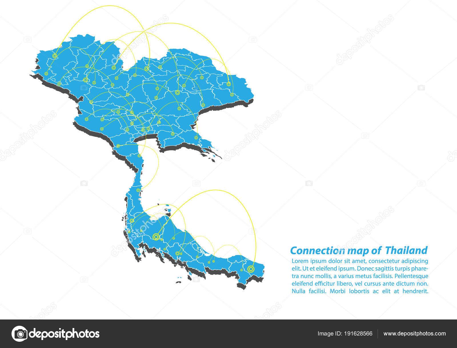 Moderne Von Thailand Karte Verbindungen Von Netzwerk Design