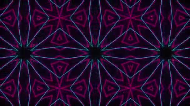 Abstraktní kaleidoskop s mnohobarevnou neonovou grafikou. animace sekvenčního pohybu grafické ozdoby vzory rotující na černém pozadí.