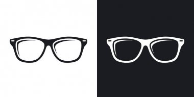 Vector Glasses icon. Two-tone version of Glasses simple icon on black and white background stock vector