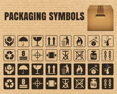 Packaging symbols on a cardboard background including Fragile, Handle with care, Keep dry, This side up, Flammable, Recycled, Package weight, Do not litter, Max stack, Clamp and Sling here, and others clip art vector