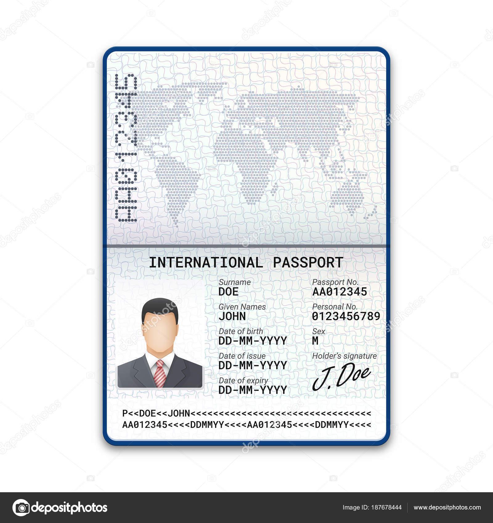 Plantilla Pasaporte Hombre Con Muestra Fotografía Firma Otros Datos ...
