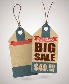 Modello di etichetta di cartone grande vendita in stile retrò ed etichetta vuota dietro