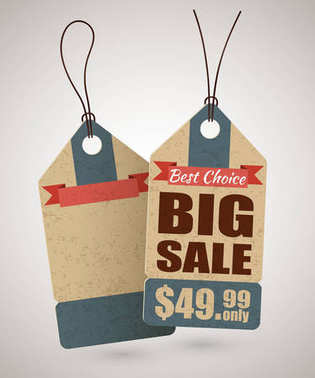Cardboard big sale label template in retro style and empty label behind