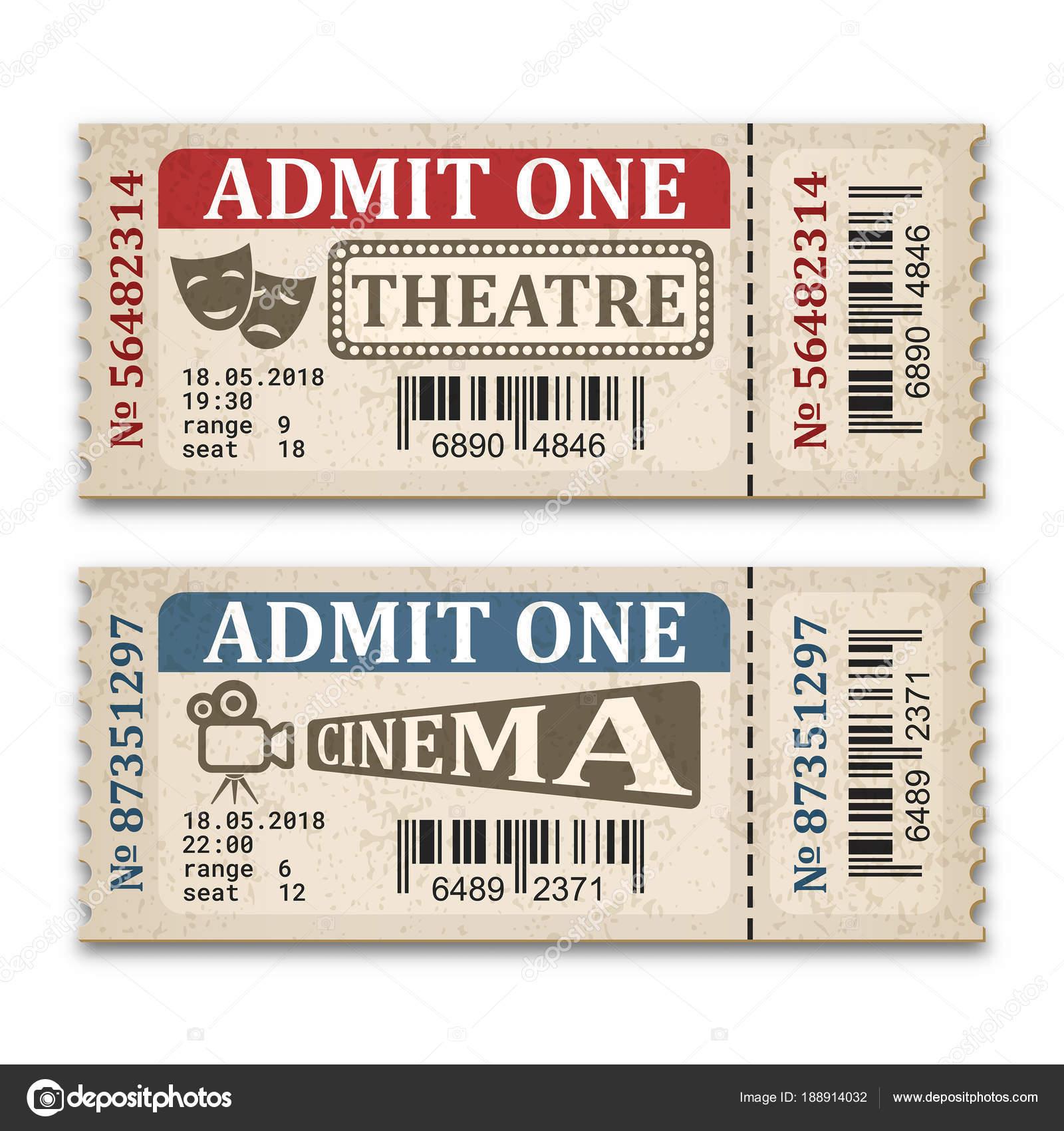 Theater Und Kino Tickets Retro Stil — Stockvektor © RealVector ...
