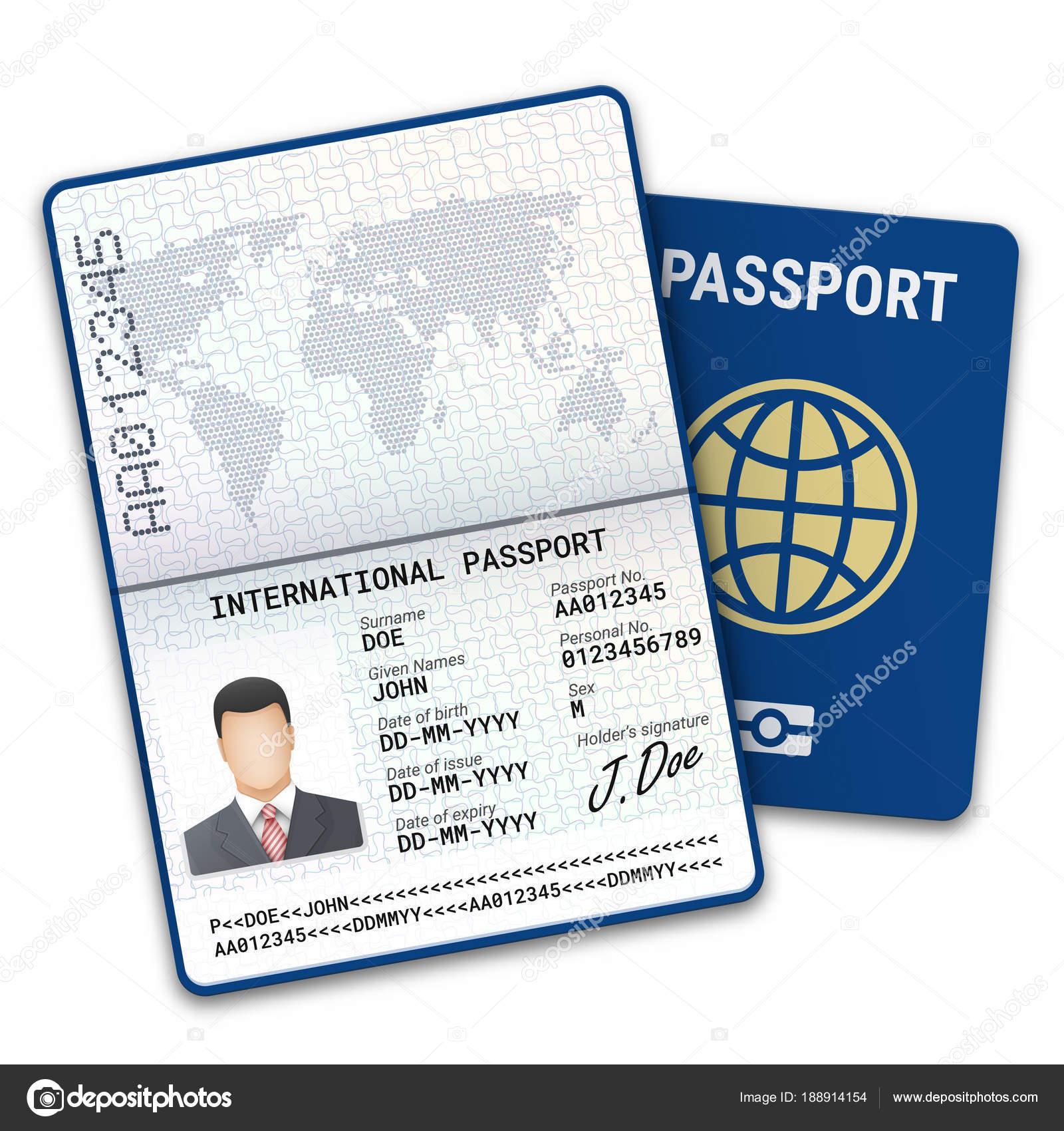 Plantilla Masculina Pasaporte Con Datos Biométricos Identificación ...