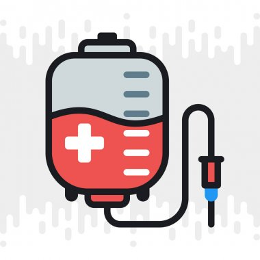 Blood donation concept, donor blood bag icon. Simple color version on a light gray background icon