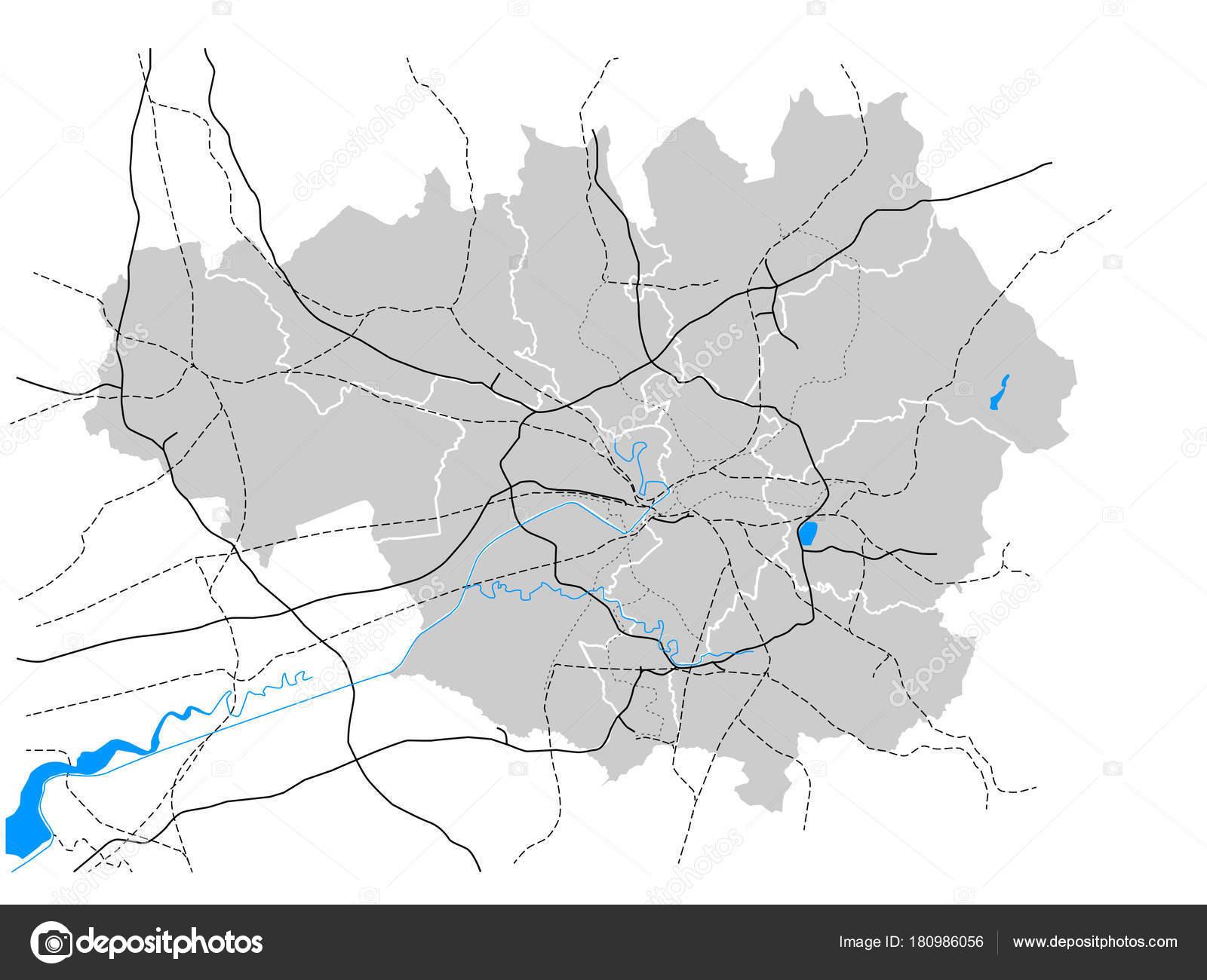 Manchester England Greater Manchester Transportation Vector Map ...