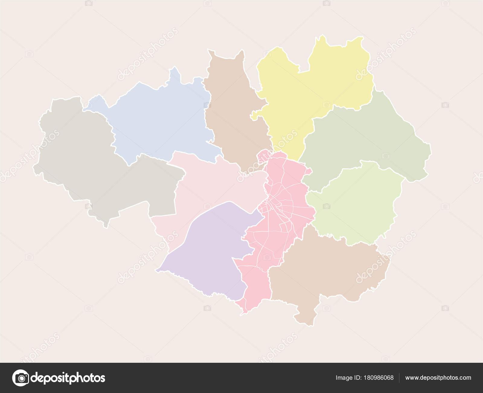 Manchester England Greater Manchester Metropolitan Boroughs Vector ...