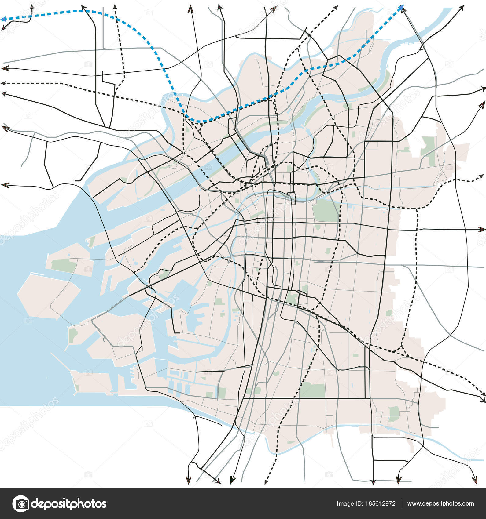 Osaka Japan Transportation Vector Map — Stock Vector © aleks ...