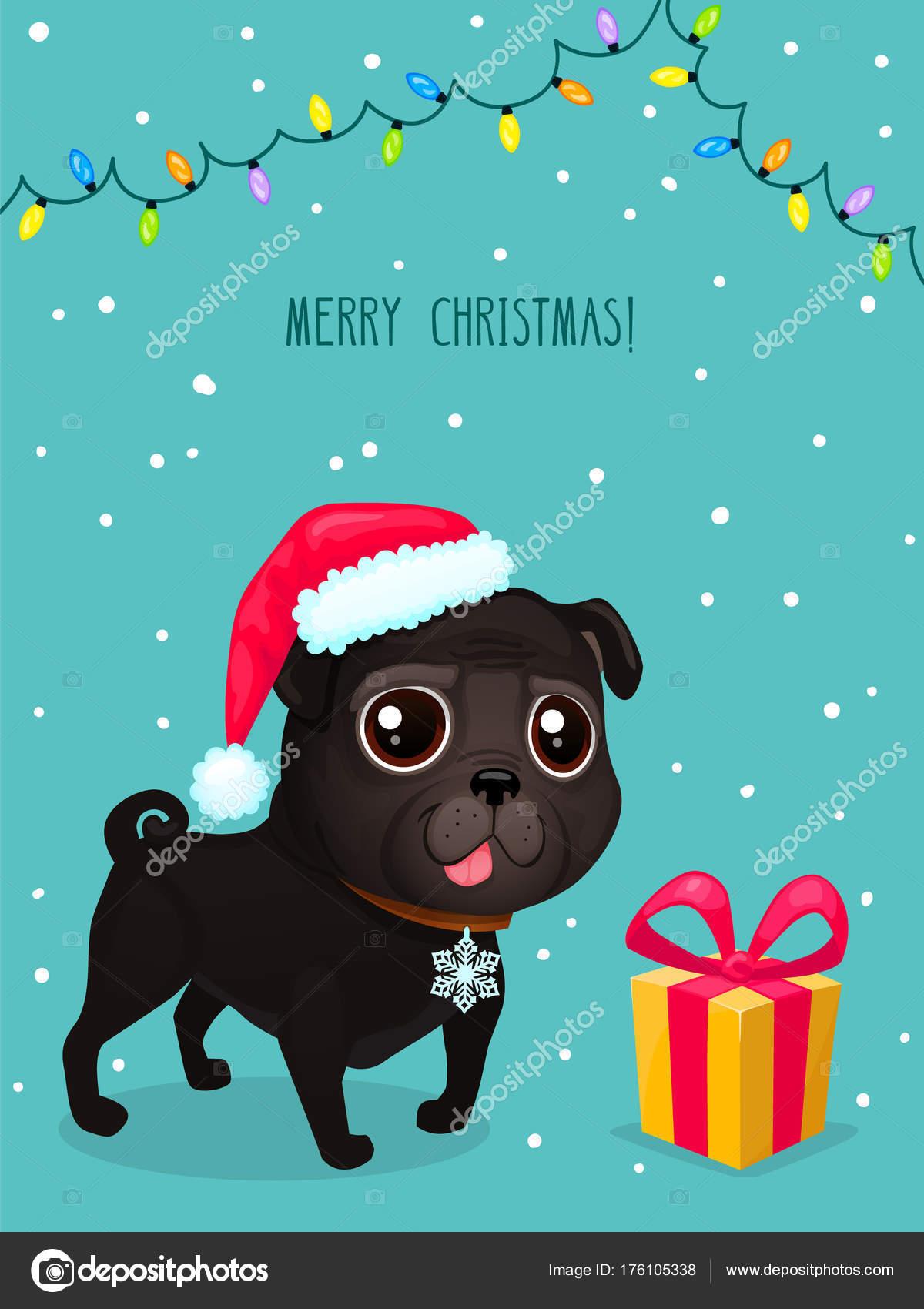 Vector Color Illustration Of Christmas Dog Christmas Card Cute