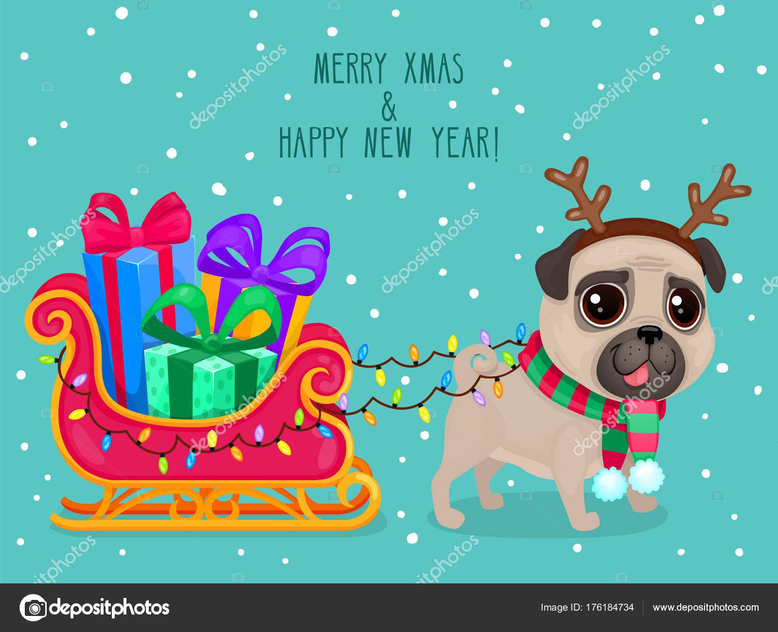 Vector Color Illustration Christmas Dog Greeting Card Cute Pug