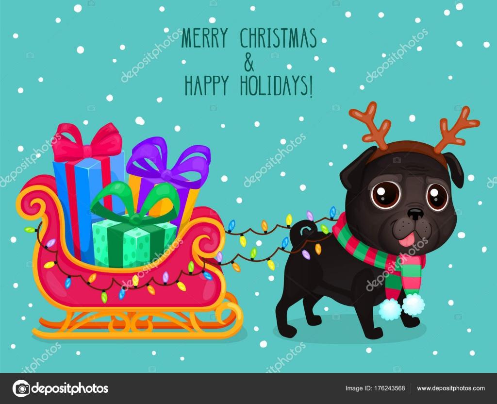 クリスマス犬のベクトル カラー イラスト グリーティング カード