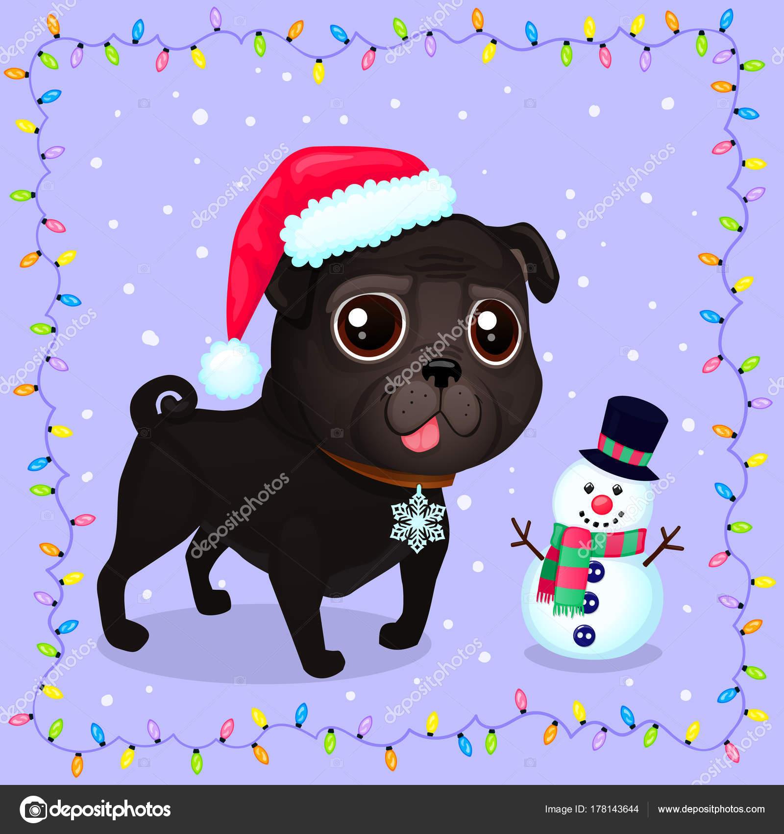 ベクトル漫画の花輪のフレームにクリスマス犬 2018 のシンボルです
