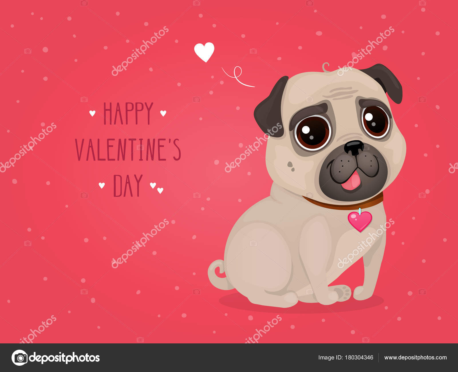 Greeting Card Valentine Day Cute Pug Cartoon Dog Heart Vector