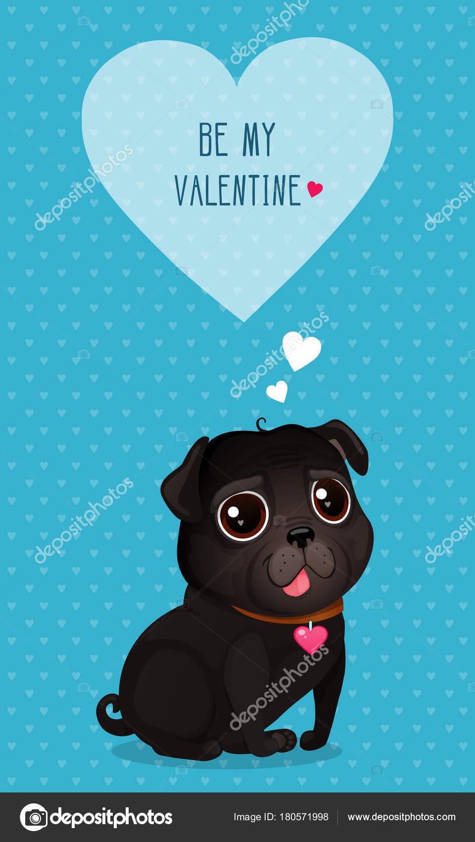 可愛い黒パグと心ベクトル イラスト バレンタインの日 心で青の背景に黒