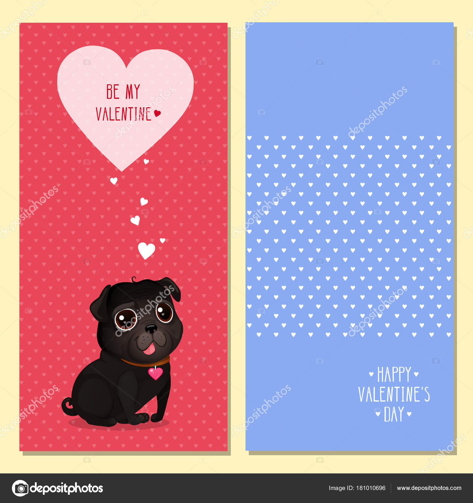 Greeting Cards Valentine Day Cute Black Pug Hearts Vector
