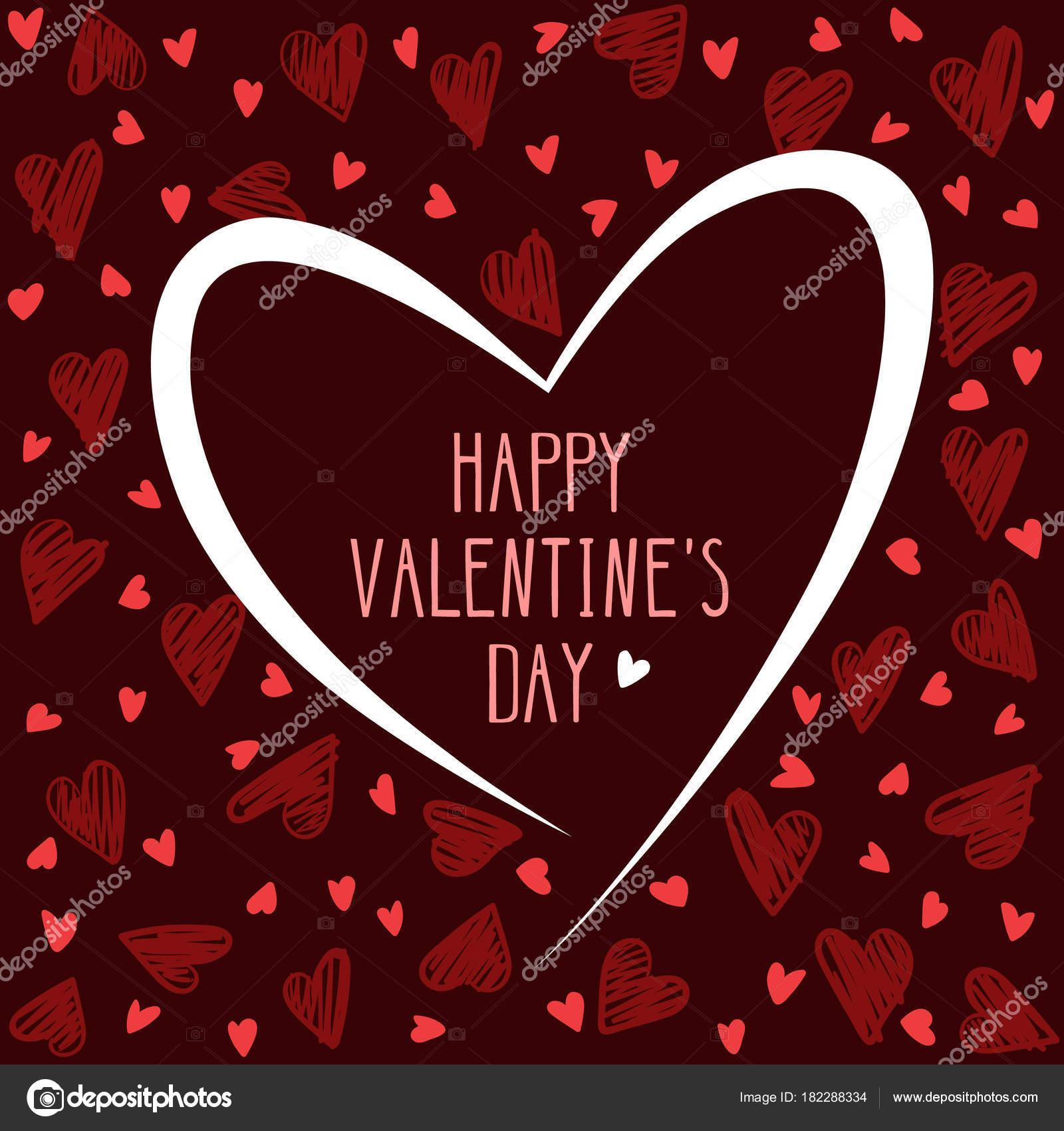 Valentine Day Card Hand Drawing Hearts Dark Brown Background Vecor