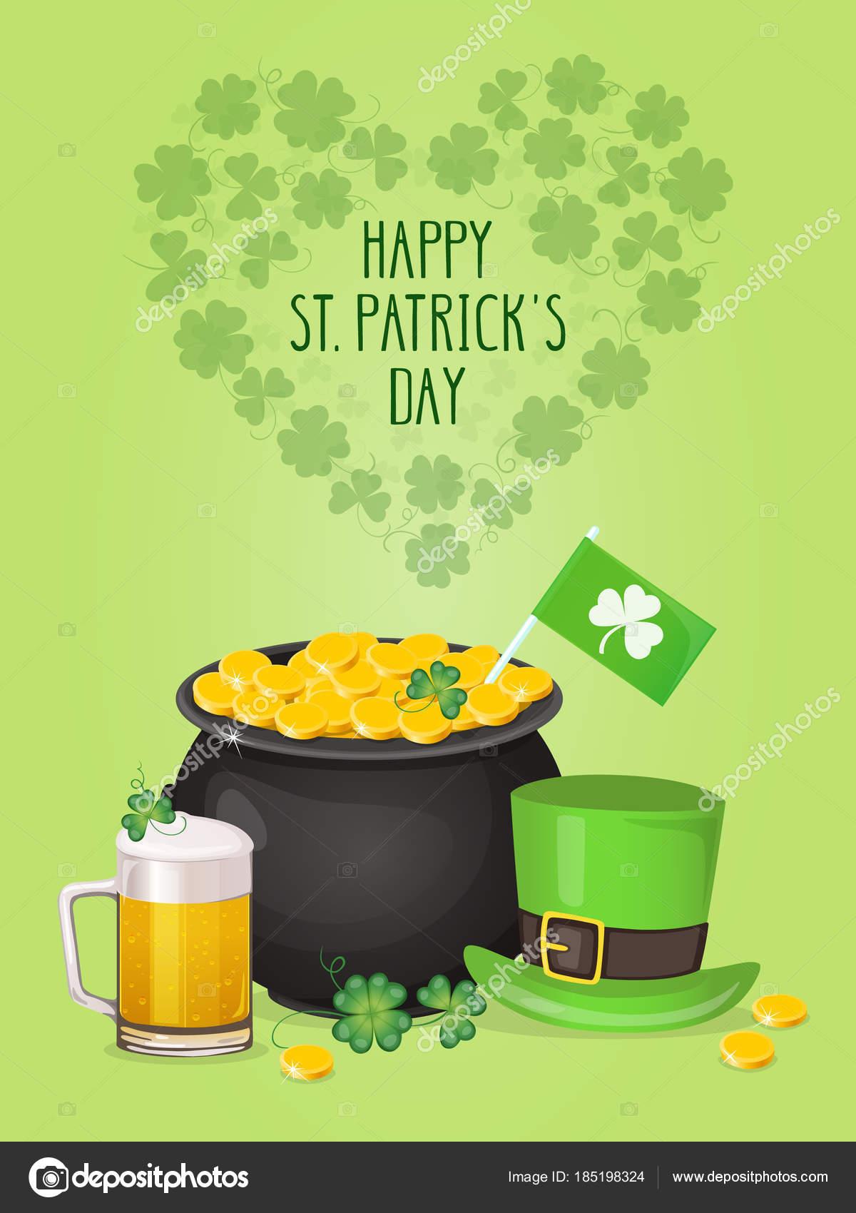 Saint Patricks Day Greeting Card Leprechaun Hat Pot Gold Glass