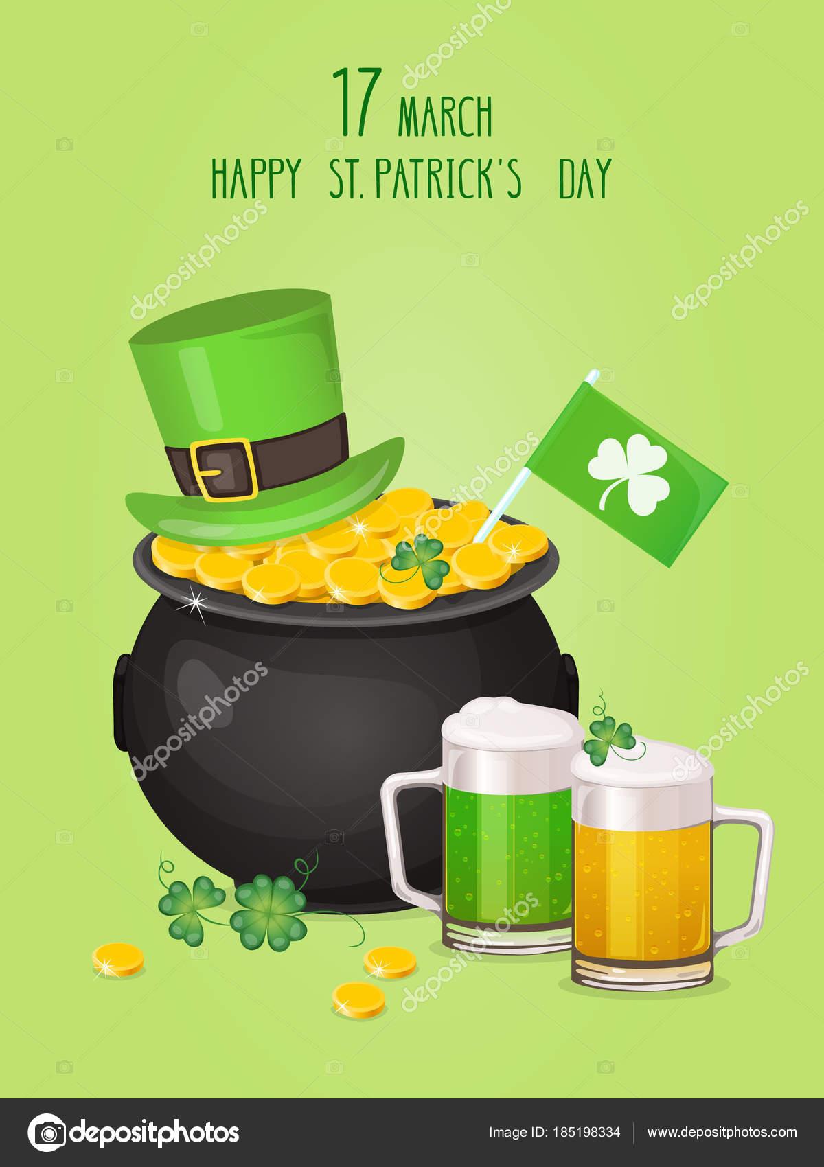 Saint Patricks Day Greeting Card Leprechaun Hat Pot Gold Shamrock