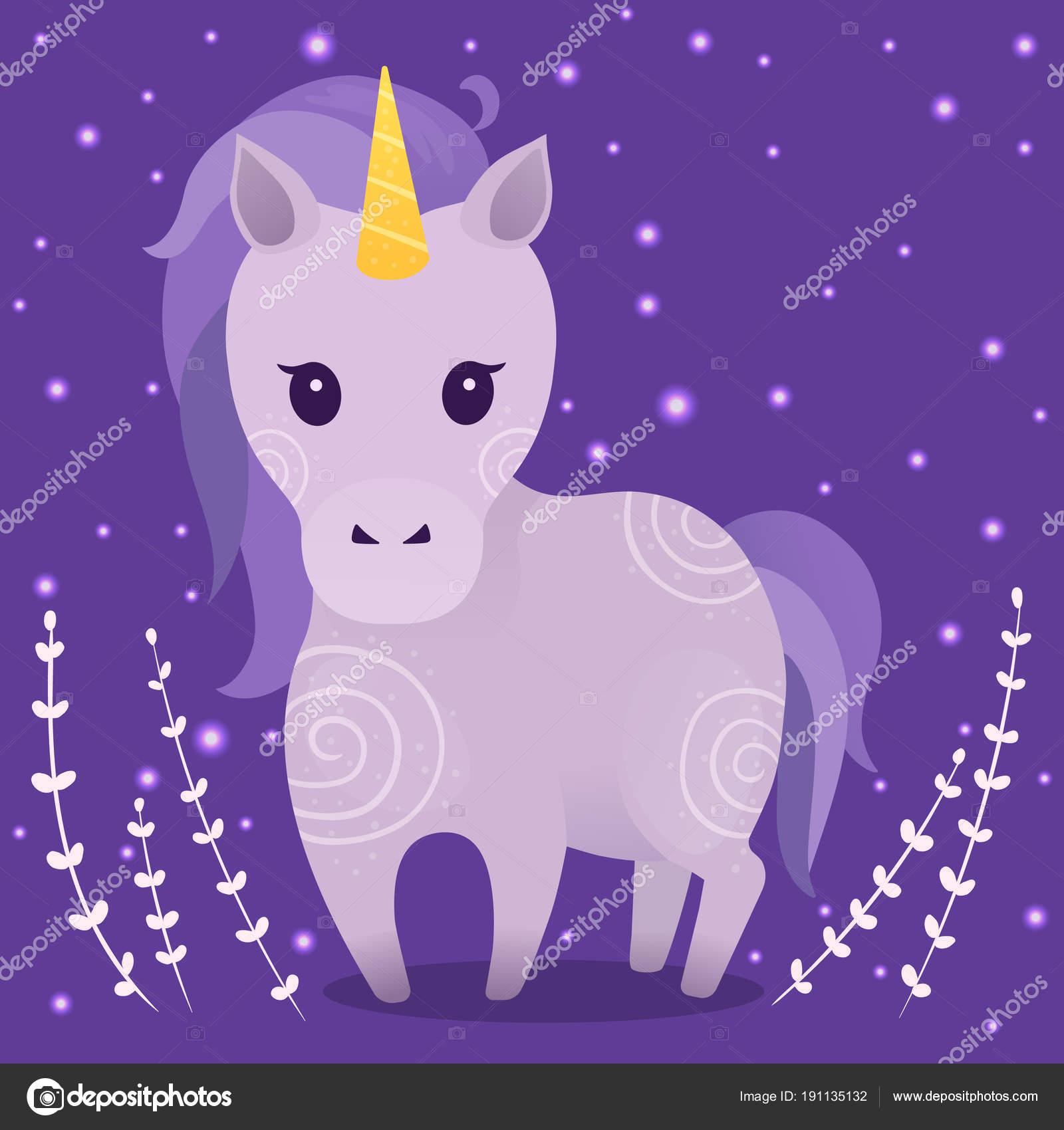Immagini Vettoriali Con Unicorno Carino Viola Piante Stelle Sfondo