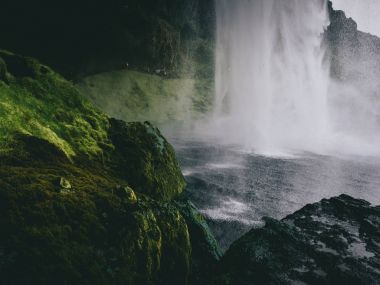 Close up of Seljalandsfoss Waterfall on Seljalandsa river, in Iceland stock vector