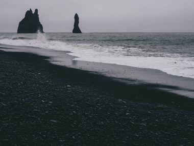 Basalt Columns on Black Sand Beach, Iceland, Vik