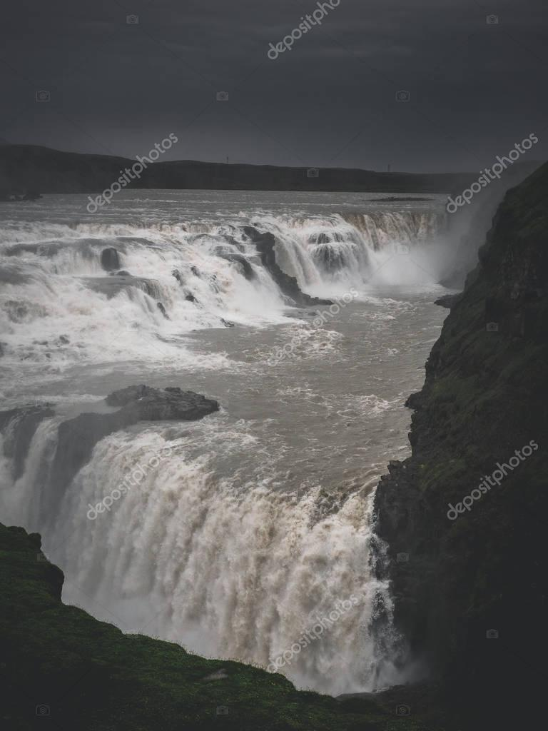Фотообои landscape with big majestic Gullfoss waterfall in mountains, Iceland